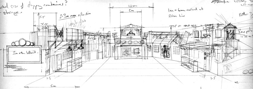 Experiential branded festival set – initial concept sketch