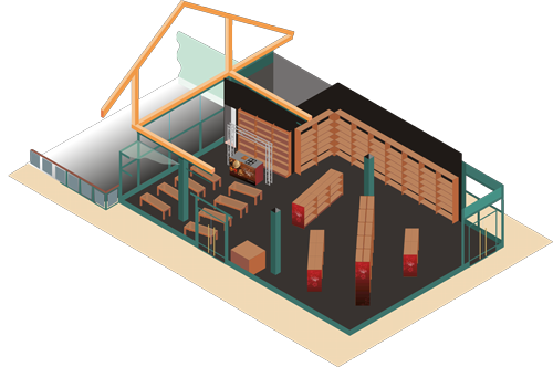 Isometric visual of event temporary retail space (branding removed)